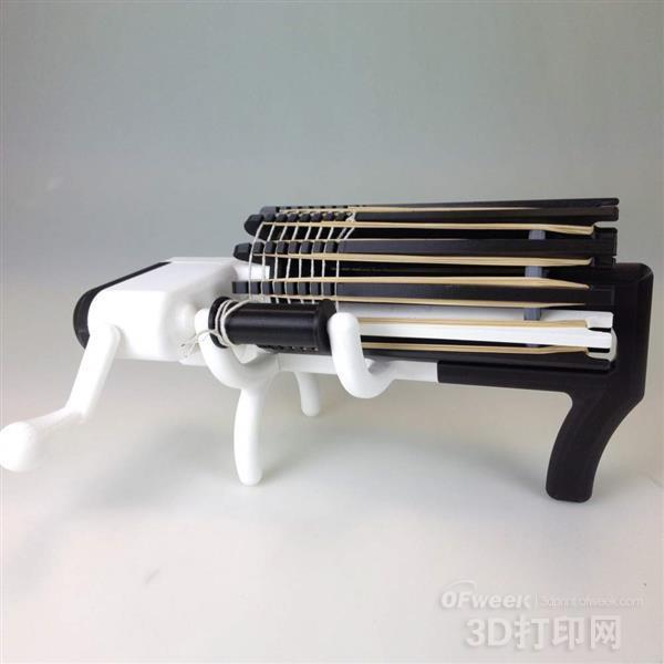 周末制作:3D打印一把有趣的橡皮筋机关枪