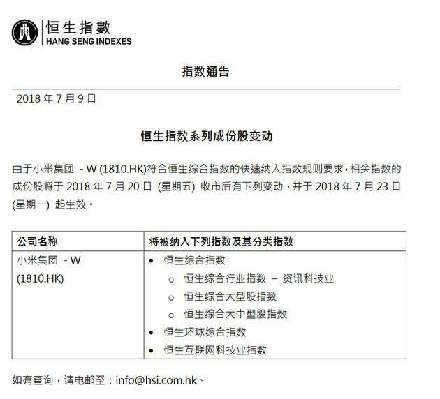 小米7月23日将正式纳入恒生指数