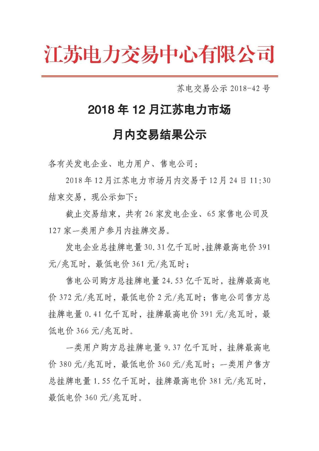 江苏12月电力市场月内交易:成交电量31.22亿千瓦时