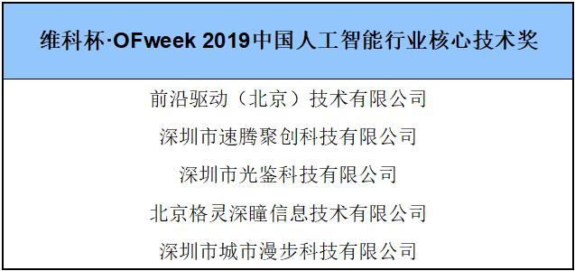 """""""维科杯·OFweek 2019人工智能行业年度评选""""行业大类奖获奖名单出炉!"""